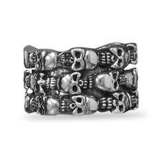 Men's Oxidized Skull Design Ring .925 Sterling Silver