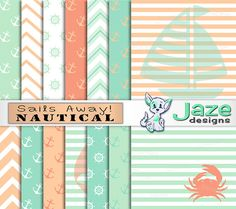 "Nautical Digital Paper Pack ""Sails Away"" - Peach and Mint Scrapbook Paper with Anchors, Sailboats, Stripes, Chevron, Helm, & Crab Graphics"
