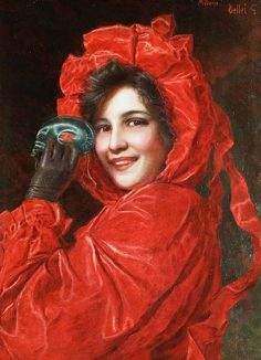 Gaetano Bellei (1857 – 1922, Italian) I love this for the beautiful girl's expression and the marvelous red dress and hat.Looks like she might be holding a mask,perhaps a masked ball somewhere.sjm.