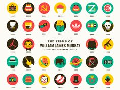 """Our latest print """"William James Murray"""" celebrates the comedic legend Bill Murray's entire body of work in film. To see the full image and close up pics read out blog post here: http://tinyurl.com/..."""
