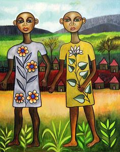 """ephrem-kouakou:    Twins, acrylic on canvas 50""""x40"""". Currently on display at Still Life Gallery in Ellicott City, MD"""