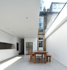 terraced house extension, Queens Park, London - porcelain tiles, minimalist design, old + new - LBMV architects Architecture Details, Interior Architecture, Interior Exterior, Interior Design, Roof Light, Glass Roof, Glass Ceiling, Ceiling Fan, House Extensions