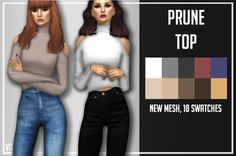 "volatile-sims: "" PRUNE TOP by Volatile Sims Full New Mesh, 10 swatches DOWNLOAD HERE IF YOU HAVE ANY PROBLEM, REQUEST, ETC, LET ME KNOW. ENJOY! DONATE  CC USED: • Blue Jeans by @puresims • Black Jeans by @simpliciaty • Hair 1 by @hallowsims •  Hair 2..."