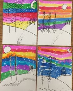 Winter landscapes by 1st grade - one day project | Mrs. Knight's Smartest…