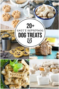 Easy Homemade Dog Treats for you to make and spoil your little pooches! From frozen treats to dry ones, you're sure to find a new recipe or two to try! Dog Cake Recipes, Easy Dog Treat Recipes, Dog Biscuit Recipes, Dog Food Recipes, Dog Treat Recipe Baby Food, Cookie Recipes, Frozen Dog Treats, Diy Dog Treats, Puppy Treats