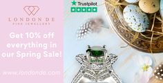 Our #SpringSale is now on! Shop our entire range for 10% off. #SpringGift #SpringGifts #Spring2021 #Spring #SpringJewels #SpringJewellery #LondonDE #bespokeservice #bespokejewellery #diamonds #colouredgemstones #ethicallysourced #sustainablysourced #ethicaljewellery #sustainablejewellery #giftspiration #HattonGardenJewellery #HattonGardenJewellers #HattonGardenJewels #HattonGardenGems #giftinspo #giftinspiration #finejewellery #finejewelry #highjewellery #highjewelry #promotion #discount #sale Hatton Garden, Bespoke Jewellery, Spring Sale, High Jewelry, Inspirational Gifts, Promotion, Diamonds, Jewelry Making, Range