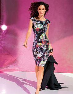 Kleid im Blumendessin in der Farbe schwarz / bunt - schwarz, pink, rot - im MADELEINE Mode Onlineshop