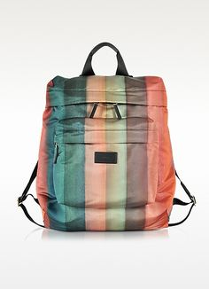 PAUL SMITH Men'S Painted Rainbow Stripe Print Backpack. #paulsmith #bags #leather #lining #polyester #backpacks #