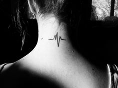 heart beat tattoo on neck