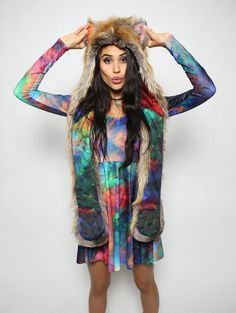 The BlackMilk Red Fox Rainbow Galaxy Collectors Edition faux fur animal inspired hood (100% Vegan). Unisex (one size fits most).