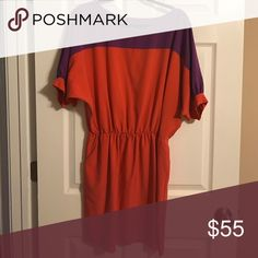 Gianni Bini purple and orange block dress Gianni Bini purple and orange block dress. Elastic cinch waist, with pockets, three quarter length sleeves with button detail. Mid-thigh. In great condition and very comfy. Gianni Bini Dresses