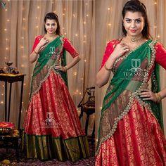 Lehenga Saree Design, Half Saree Lehenga, Lehnga Dress, Sari, Wedding Saree Blouse Designs, Half Saree Designs, Fancy Blouse Designs, Floral Skirt Outfits, Langa Voni