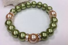 Woman's Pearl Stretch Bracelet Green and Gold by ChristineJewels5