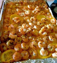 melted stick of butter bottom of pan, add one cut lemon on top of butter,top w shrimp add dry Italian seasoning,bake 350 for 15min