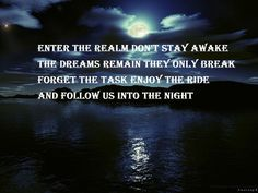 Enter the realm don't stay awake  The dreams remain they only break  Forget the task enjoy the ride  And follow us into the night.  Nightwish ♥