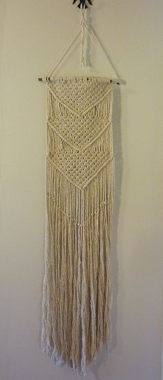 Large Macrame Chevron Fringed Wall Hanging by shannonkeller