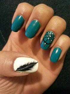 Successful re-creation of dreamcatcher nail design :) BY Me :) Angela Kienzle