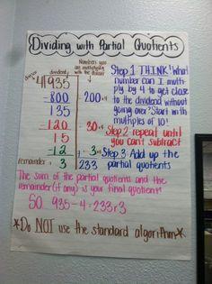 Dividing with partial quotients Math Charts, Math Anchor Charts, Free Math Worksheets, Math Resources, Math Activities, Math Division, Long Division, Partial Quotient Division, Fifth Grade Math