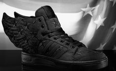 Gotta fly now: adidas X Jeremy Scott JS Wings 'Black Flag' trainers via Originals Jeremy Scott Adidas, Adidas Originals, All Black Sneakers, Trainers, Wings, Flag, Running, Chic, Shoes