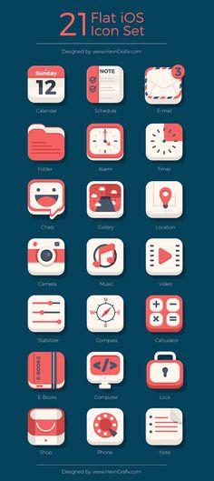 21 Flat iOs icon SetMy CMS