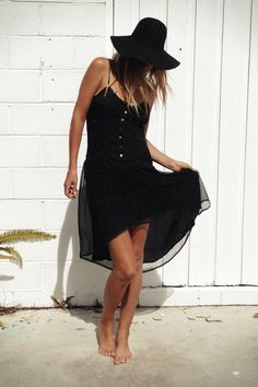 Black Boho Dress and Hat
