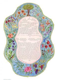 7 Species Ketubah by Miriam Karp Grape Painting, Messianic Judaism, Colonial Art, Master Of Fine Arts, Arts Award, Jewish Art, Botanical Wedding, Illuminated Manuscript, Floral Watercolor