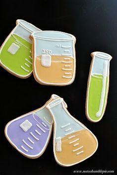 Beaker, flask and test tube cookies