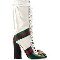 Gucci Finnlay Leather High Boot (€1.795) ❤ liked on Polyvore featuring shoes, boots, green, leather lace up boots, leather high heel boots, tall leather boots, knee-high lace-up boots and knee high laced boots