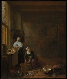 """A Kitchen"" -- Circa 1643 -- Hendrick Sorgh -- Oil on wood -- The Metropolitan Museum of Art, New York"
