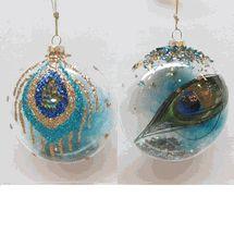 Glass Ball Blue Peacock 90mm set of 2