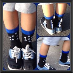 J's socks on crazy sock day at his school. Showing the school spirit to celebrate Literacy week.