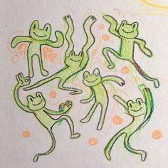 Cute Drawings, Drawing Sketches, Indie Drawings, Frog Drawing, Psychedelic Drawings, Pretty Art, Cute Art, Posca Art, Arte Sketchbook