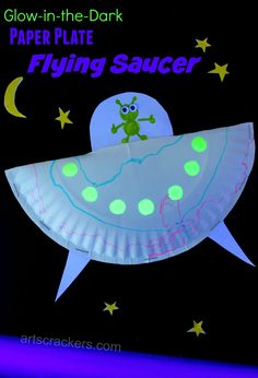 Paper Plate Flying Saucer Craft. Click the picture to view the tutorial and watch it glow!