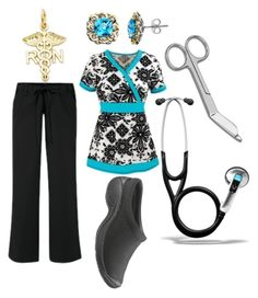 """""""Classy Black & Turquoise Nurse Scrub Set"""" by samanthanurse ❤ liked on Polyvore featuring moda, Merrell, Lord & Taylor, women's clothing, women, female, woman, misses y juniors"""