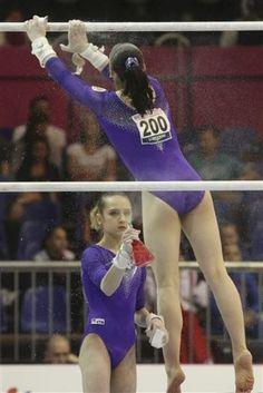 World Champions Viktoria Komova and Aliya Mustafina of Russia I love how they're serious bffs