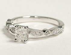 Milgrain Marquise and Dot Diamond Engagement Ring in 14K White Gold  Love this. And actually afordable.