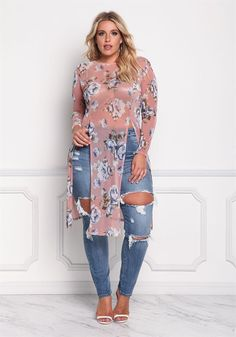 Plus size clothing plus size floral mesh two slit top debshops fall fashion Look Plus Size, Plus Size Model, Plus Size Tops, Plus Size Fashion For Women, Plus Size Womens Clothing, Plus Size Outfits, Size Clothing, Gothic Clothing, Clothing Sites