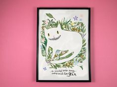 Cheshire cat print by ilikeCATSshop in UK. Cheshire cat print - A4 art print  This digital print features my original illustration inspired by Lewis Carroll's Cheshire Cat from Alice in Wonderland. Known for his ability to turn himself invisible, my illustration plays on this by creating the outline of the cat from flowers and foliage, so that all that can really be seen of him is his eyes and trademark grin. It features a quote from the book '...it vanished quite slowly. Signed on back.
