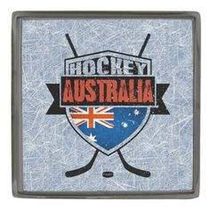 #Australian Ice Hockey Shield Lapel Pin.  Custom made stylish lapel pin, available in gunmetal, silver plated and gold plated finishes. The design is covered with a high shine resin dome. #HockeyPins