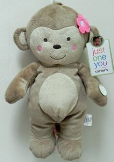 """Carter's Just One You Musical Monkey 15"""" tall - Pink by Carter's. $26.99. Carter's Monkey Musical Pull Toy is super soft, cuddly and lots of fun! This plush has special features that make it both entertaining and the perfect addition to your nursery décor. Gently pull the Monkey's tail to listen to the soothing music play. Great features include an embroidered face. He is surface washable with additional care instructions on his tag."""