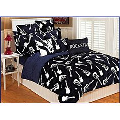 @Overstock.com - Add a playful touch to your bedroom decor with a microplush Guitars print comforter. This bedding set is super soft, subtly sophisticated, and incredibly cozy.http://www.overstock.com/Bedding-Bath/Microplush-Reversible-Guitars-Twin-Size-Comforter-Set/6341651/product.html?CID=214117 $76.59