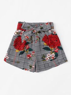 Plus Floral Print Belted Houndstooth Print Shorts