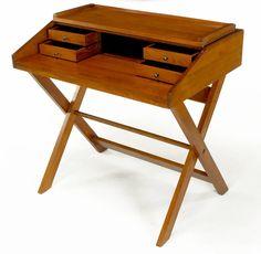 Sorrel Ash-Flip Top Trestle Based Writing Table 2