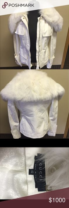 Tom Ford for Gucci White Denim Fur Jacket The fur is detachable. It's so amazing!! Worn once Gucci Jackets & Coats