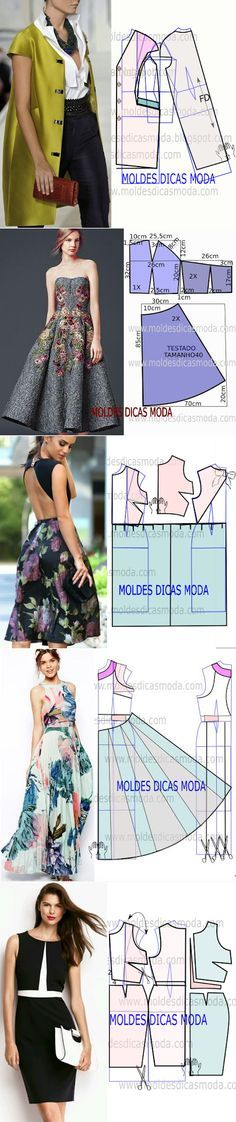 MOLDE DE VESTIDO..♥ Deniz ♥ Light jacket layer  Dress tea length strapless pattern