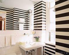 Black/White Stripes, subway tile, console sink