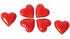 Glas-Herzen rot; 6-tlg Valentinstag. Für romaantische Dekorationen! kein Spielzeug Abmessungen (in mm): je D40