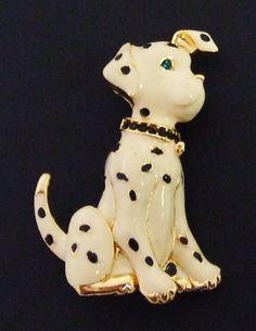 968~Vintage Gold Tone Enamel Rhinestone Figural Dalmatian Dog Pendant Brooch Pin