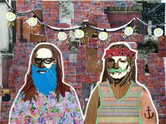 WILLIE AS HIPSTERS -- 16 X 24in -- Mixed Media on Board -- CONTACT: annegenung@gmail.com