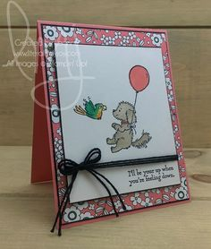 Know anyone feeling like they need a pick me up? Maybe send them a handmade card and include a balloon just because. #bellaandfriends #stampinup #literallymyjoy #papercrafting #cardmaking #stampinupdemonstrator #parrot #dog #balloon #justbecause #getwell #feelbetter #flirtyflamingo #emeraldenvy #PickAPatternDSP #20172018AnnualCatalog #linkinprofile
